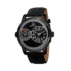 Joshua & Sons Men's Dual Time Black Leather Watch