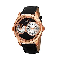 Joshua & Sons Men's Rose Gold Tone Dual Time Black Leather Watch