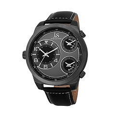Joshua & Sons Men's Black Leather Chronograph Watch