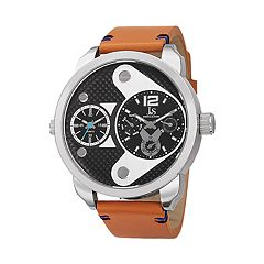 Joshua & Sons Men's Brown Leather Dual Time Watch
