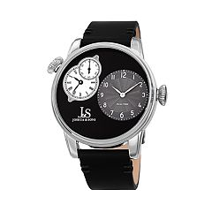 Joshua & Sons Men's Black Leather Dual Time Watch