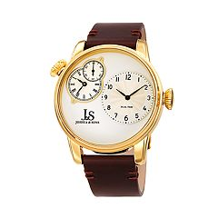 Joshua & Sons Men's Leather Dual Time Watch