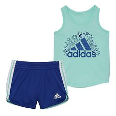 Girls 4-6x adidas Glitter Graphic Tank Top & Shorts Set