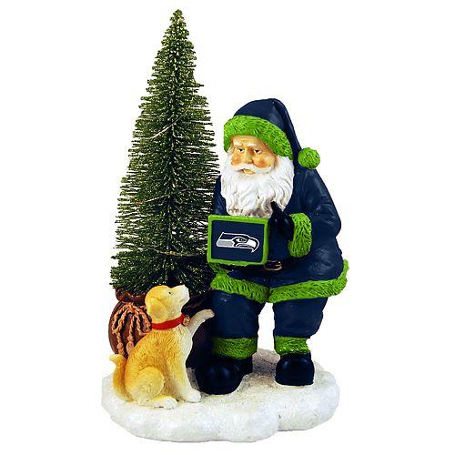 Seahawks Christmas Tree.Seattle Seahawks Santa With Led Christmas Tree Figurine