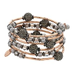 Jennifer Lopez Beaded Rose Gold Tone Coil Bracelet