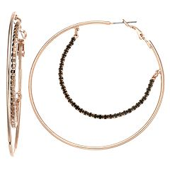 Jennifer Lopez Double Row Hoop Earrings