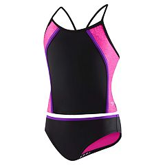 Girls 7-16 Speedo Heather Splice Tankini Top & Bottoms Swimsuit Set