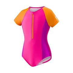 Girls 7-16 Speedo Half-Zip One-Piece Swimsuit