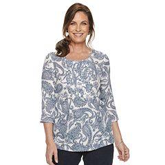Women's Croft & Barrow® Print Pintuck Top