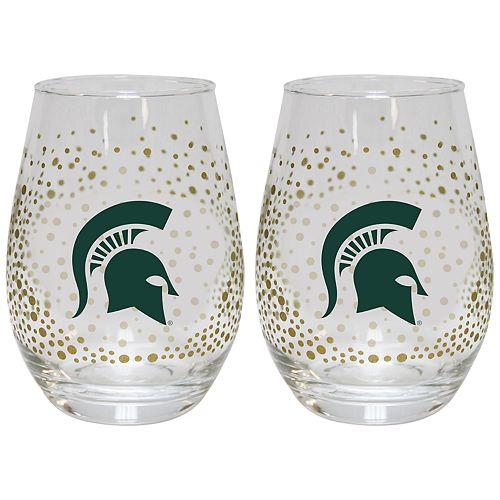 Michigan State Spartans Glitter Stemless Wine Glass Set