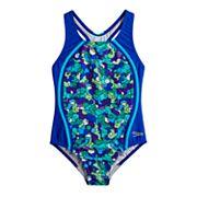 Girls 7-16 Speedo Printed Sport Splice One-Piece Swimsuit