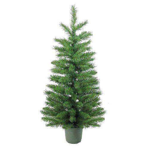 Potted Artificial Christmas Tree: Northlight Seasonal Indoor / Outdoor 4-ft. Slim Pine