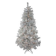 Northlight Seasonal 7.5-ft. Pre-Lit Silver Metallic Tinsel Artificial Christmas Tree