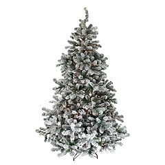 Northlight Seasonal 6.5-ft. Pre-Lit Flocked Natural Emerald Artificial Christmas Tree