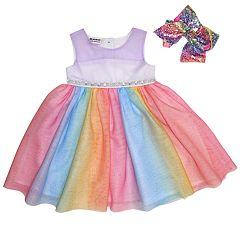 Girls 4-6x Blueberi Boulevard Rainbow Tulle Dress & Bow Set