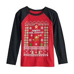 Boys 4-12 Jumping Beans® Super Mario Bros. Holiday Raglan Graphic Tee