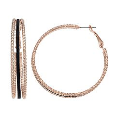 Jennifer Lopez Textured Triple Hoop Earrings