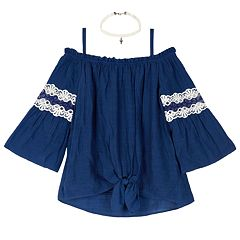 94697b833 Girls 7-16 IZ Amy Byer Off-the-Shoulder Lace Bell Sleeve Top