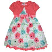 Girls 4-6x Blueberi Boulevard Floral Clip-Dot Sundress & Cardigan Set