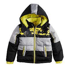 Boys 4-7 DC Comics Batman Puffer Hooded Heavyweight Jacket