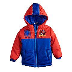 Boys 4-7 Marvel Spider-Man Colorblock Hooded Heavyweight Jacket