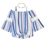 Girls 7-16 IZ Amy Byer Off-the-Shoulder Bell Sleeve Top & Necklace Set
