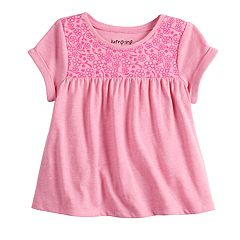 Baby Girl Jumping Beans® Floral Yoke Babydoll Top