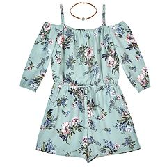 Girls 7-16 IZ Amy Byer Floral Off-the-Shoulder Romper & Necklace Set