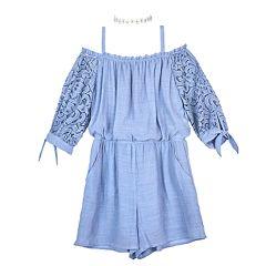 1611081fda Girls 7-16 IZ Amy Byer Lace Sleeves Off-the-Shoulder Romper