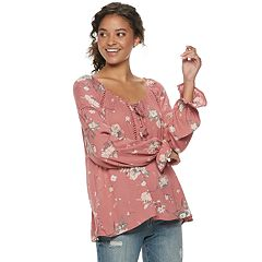 Juniors' American Rag Tie Front Long Sleeve Top