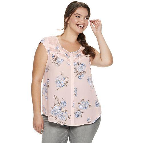 Juniors' Plus Size Candie's® Lace Inset Top