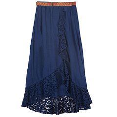 cc079b67f1f2 Girls 7-16 IZ Amy Byer Lace Trim Ruffle Maxi Skirt