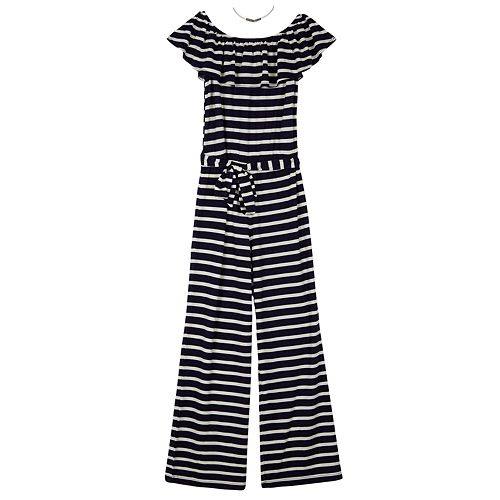 4630e5d604831 Girls 7-16 IZ Amy Byer Striped Off-the-Shoulder Jumpsuit