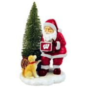 Wisconsin Badgers Santa with LED Christmas Tree Figurine