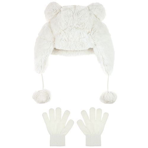 Rabbit Hat Faux Fur Hat with Gloves Sets For Girls /…