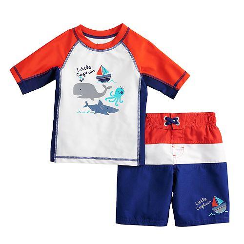 "Toddler Boy ZeroXposur ""Little Captain"" Rash Guard Top & Swim Trunks Set"