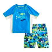 Toddler Boy ZeroXposur Sharks Rash Guard Top & Swim Trunks Set