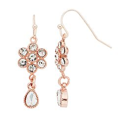 LC Lauren Conrad Rose Gold Tone Simulated Stone Flower & Teardrop Nickel Free Earrings