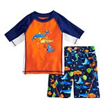 Toddler Boy ZeroXposur Fish Rash Guard Top & Swim Trunks Set