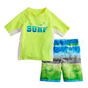 "Toddler Boy ZeroXposur ""Surf"" Rash Guard Top & Swim Trunks Set"