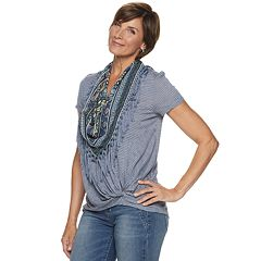 Women's World Unity Striped Scarf & Knot-Front Tee