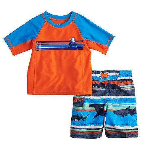 Toddler Boy ZeroXposur Sharks Raglan Rash Guard Top & Swim Trunks Set