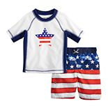 Toddler Boy ZeroXposur Americana Star Patriotic Rash Guard Top & Swim Trunks Set