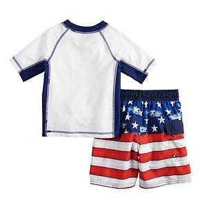 Toddler Boy ZeroXposur Americana Star Patriotic Rash Guard Top & Swim Trunks Set