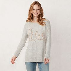 Petite LC Lauren Conrad Graphic Crewneck Tunic Sweater