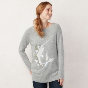 Petite LC Lauren Conrad Graphic Crewneck Tunic Sweater