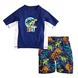 Toddler Boy ZeroXposur Dinosaur Rash Guard Top & Swim Trunks Set