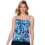 Women's Croft & Barrow® Pleated Neck Tankini Top