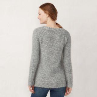 Petite LC Lauren Conrad Fuzzy Raglan Sweater
