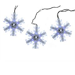 Northlight Seasonal 3 Cascading White and Blue Snowfall LED Snowflake Christmas Lights